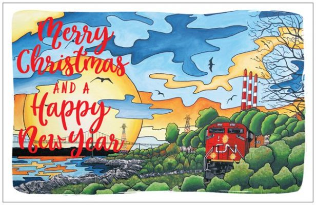 hand made card postal for new year and xmas with train on it in Halifax