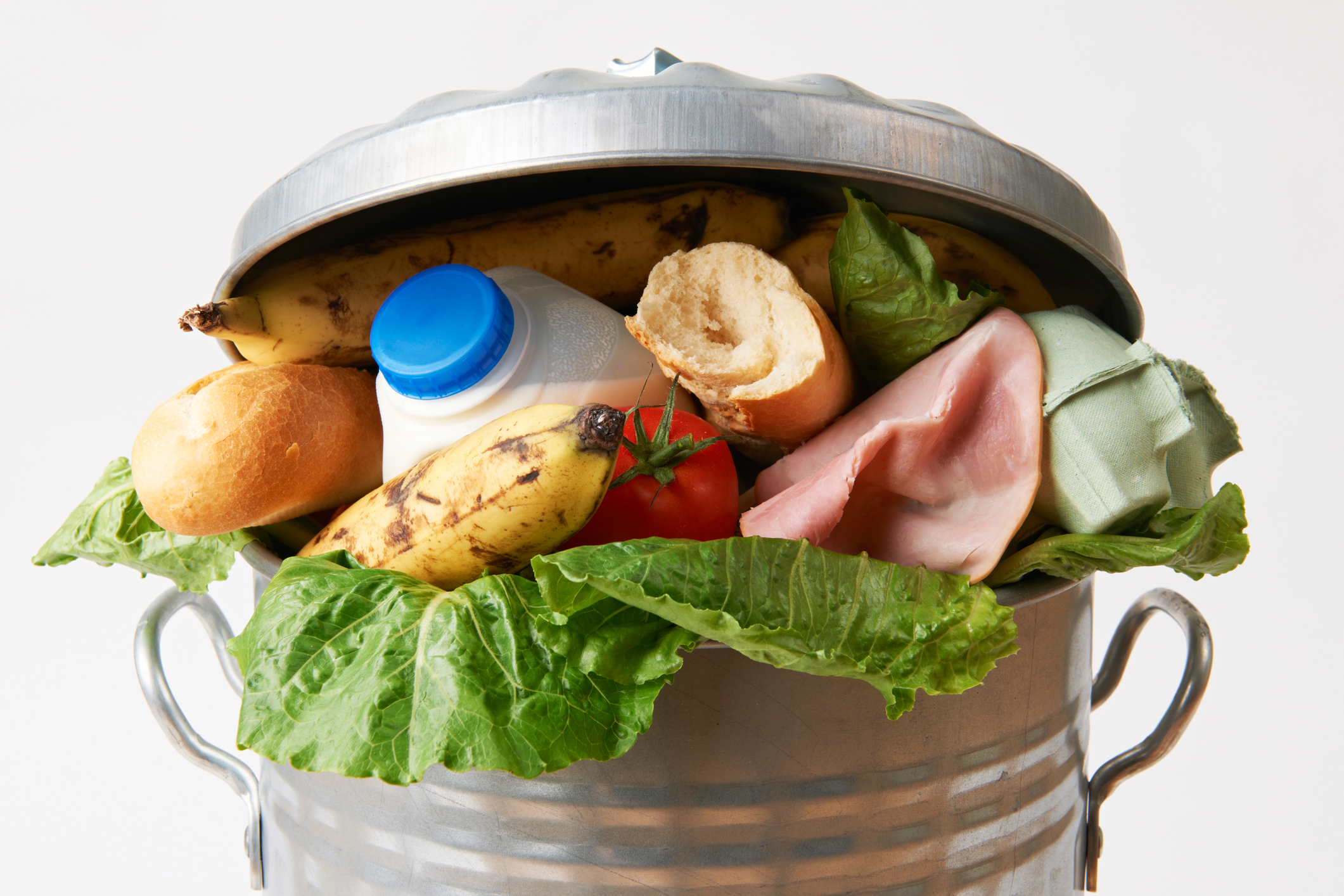 Fresh Food In Garbage Can Going to Waste