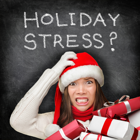 blackboard with holiday stress text
