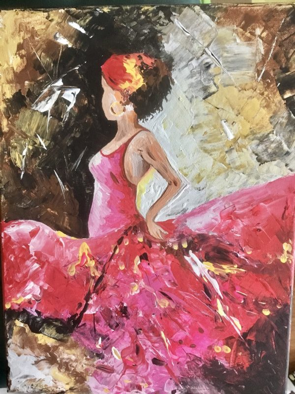 Mitraa's Art vStore Main Image Girl in Pink Gown Acrylic on canvas