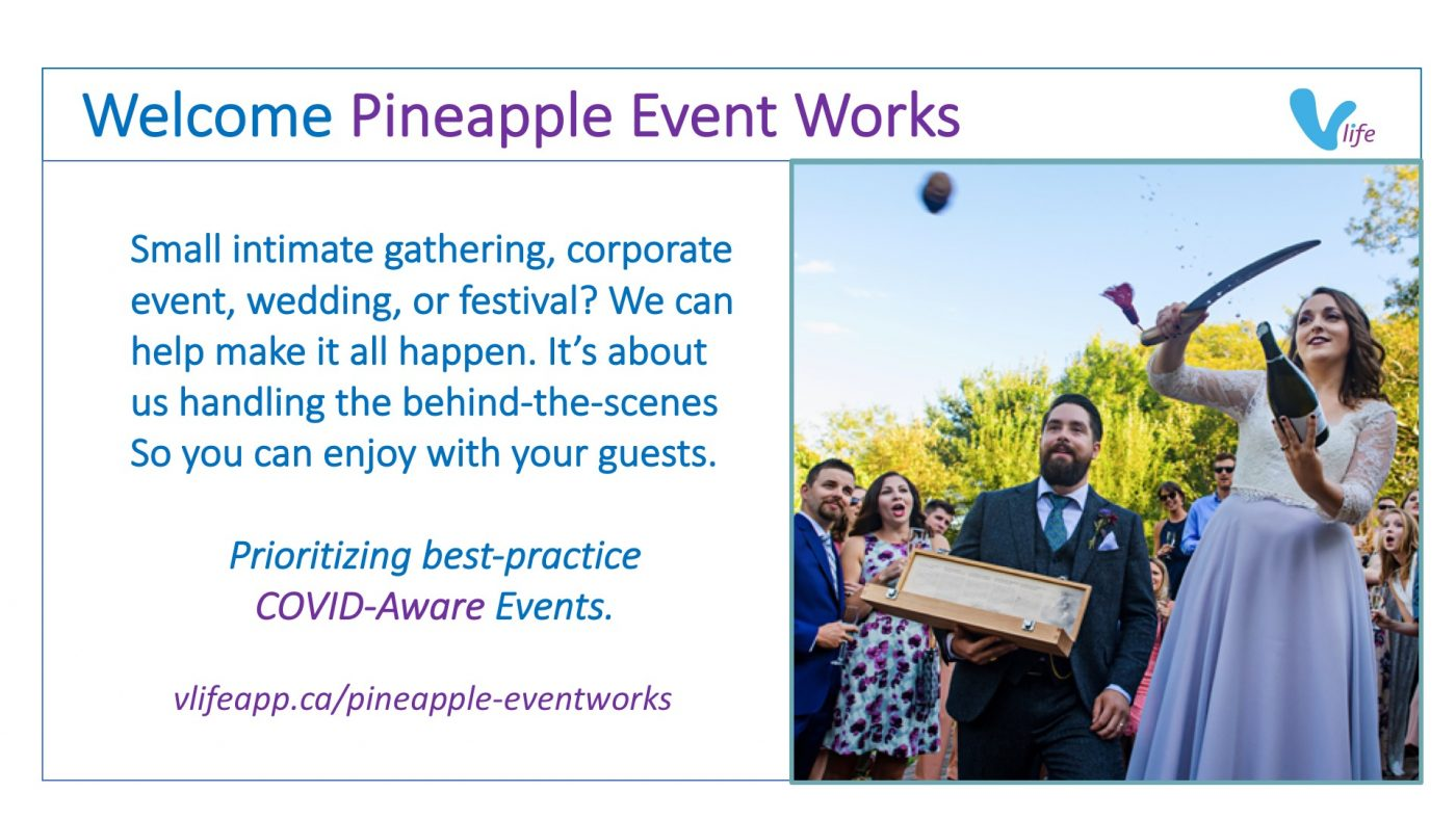vLife Welcome Pinapple Eventworks Bride popping a champaign cork at wedding with a knife.