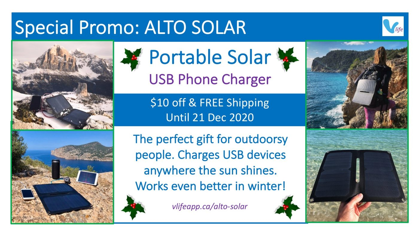 vStore Promo Alto Solar $10 off and Free Shipping Solar USB phone charger poster