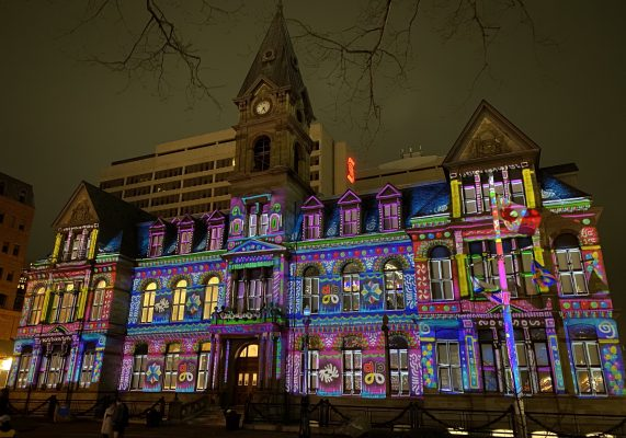 Halifax City Hall's holiday projection show lights up the Grand Parade.