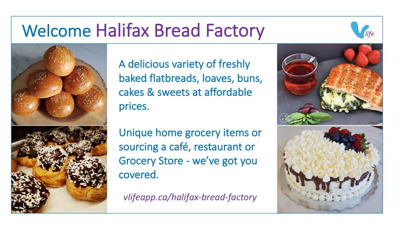 vStore Welcome Halifax Bread Factory, rolls, pastries, flatbread, cake