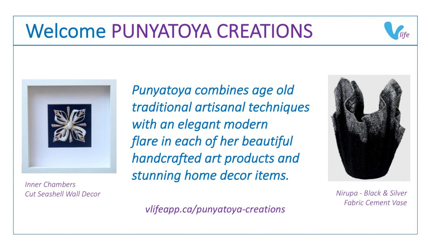 vStore Welcome Punyatoya Creations info vase and shell art
