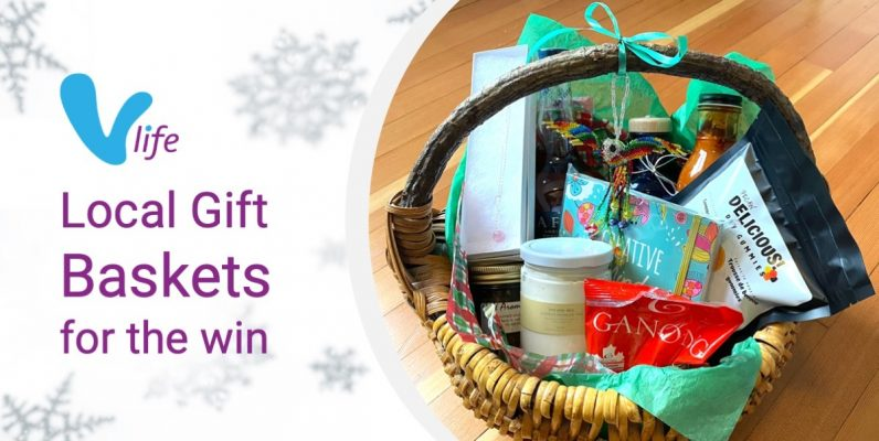 Local Gift Basket curated by vLife writer and passionate buy local supporter Erin Casey
