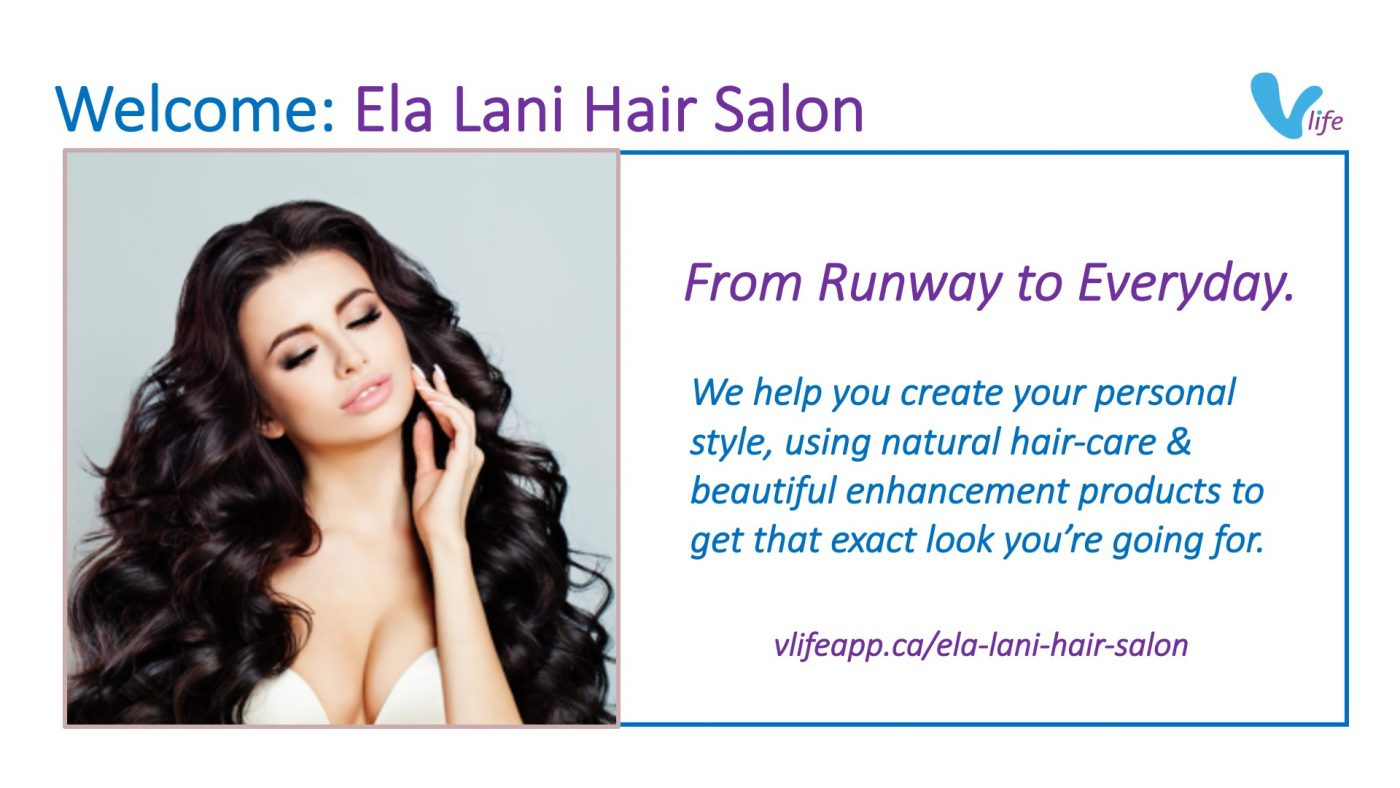 vStore Welcome Ela Lani Hair Salon info poster