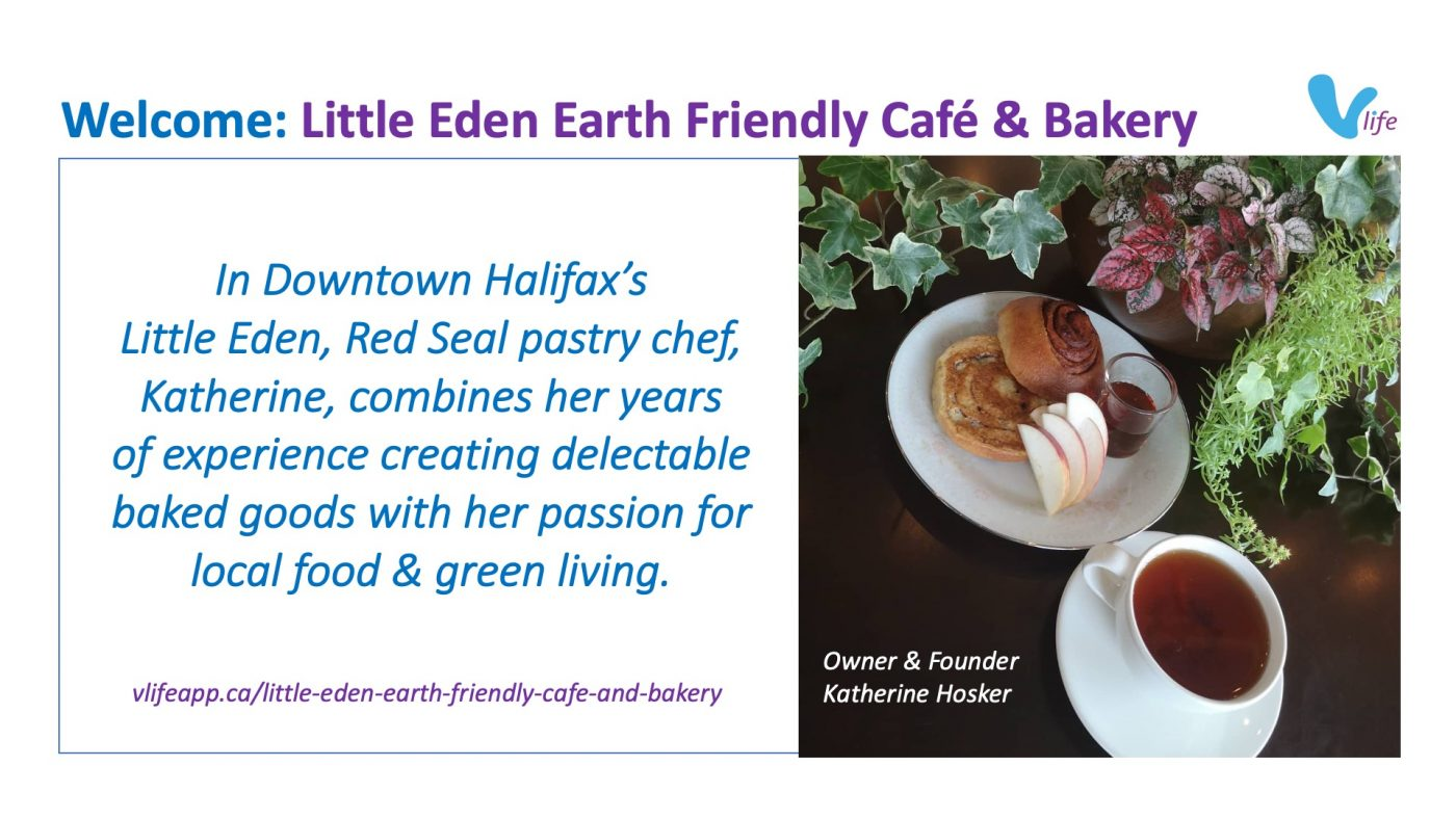 New vStore Welcome Little Eden Earth Friendly Cafe & Bakery info poster