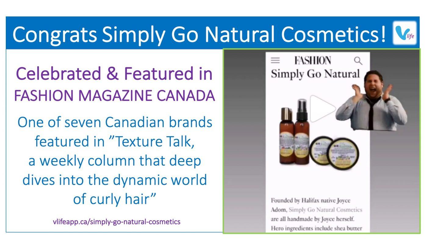 vStore Promo Simply Go Natural Cosmetics Featured in Canada Fashion Magazine Feb 2021