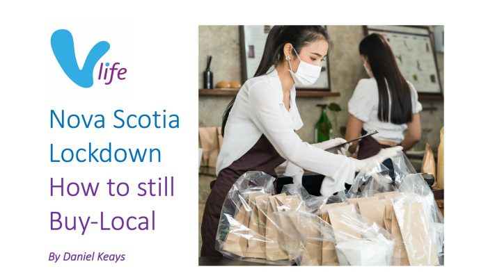 vLife Blog image Nova Scotia Lockdown How to Still Buy Local title with image of woman prepping for curb side food order pickups